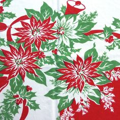 vintage poinsettia images | Vintage Christmas Tablecloth Printed with Green and by VintagePDX