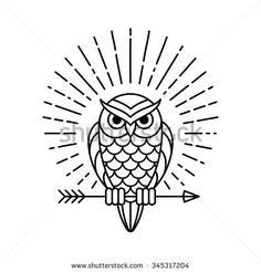 Owl outline emblem in geometric hipster style with arrow and beams. Vector line…