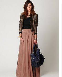 Shades of Brown  |  Leather and Maxi  |  Inspiration for hijab, hijab style, hijab fashion, hijab outfit