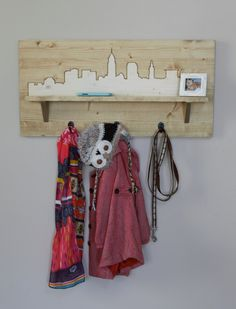 Wooden City Skyline - Entryway Shelf & Coat Rack by WildHouseDesigns on Etsy Entryway Organizer