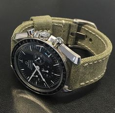 Vintage canvas strap by Red Rock Straps on Omega Speedmaster