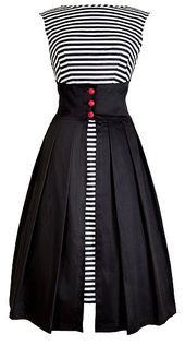 the stripes with a solid overskirt!Love the stripes with a solid overskirt! Look Fashion, Diy Fashion, Womens Fashion, Fashion Design, Dress Fashion, Fashion Trends, Vintage Dresses, Vintage Outfits, Vintage Fashion