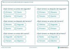 Ficha de números ordinales para primaria