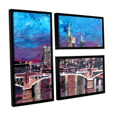ArtWall 'Marcus/Martina Bleichner's Frankfurt Manhattan Skyline' 3-piece Floater Framed Flag Set