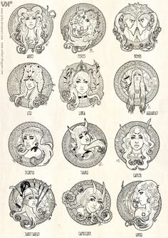 Zodiac signs in female human form
