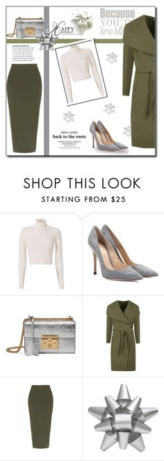 """""""Christmas!"""" by emapolyvore ❤ liked on Polyvore featuring A.L.C., Gianvito Rossi, Gucci, WearAll, Martha Stewart, Christmas, gift, GREEN and bag"""