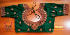 Pattu Saree Blouse Designs, Blouse Designs Silk, Bridal Blouse Designs, Kids Blouse Designs, Blouse Back Neck Designs, Blouse Desings, Stylish Gown, Maggam Work Designs, Green Blouse