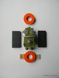Robot Ornament  Button Bot  Upcycled Ornament  by redhardwick