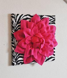"Hot Pink Wall Hanging -Hot Pink Dahlia on Zebra Print 12 x12"" Canvas Wall Art- Baby Nursery Wall Decor-"