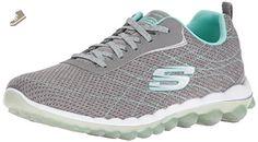 Skechers Sport Women's Skech Air 2,0 Moden Edge Fashion Sneaker, Grey/Mint, 8.5 M US - Skechers sneakers for women (*Amazon Partner-Link)