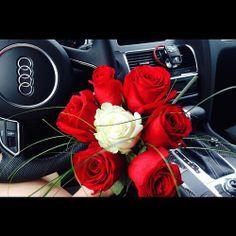 #Audi #Love #red #white #rose #roses #gift #romantic #flowers