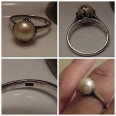 vintage pearl ring, crown setting.