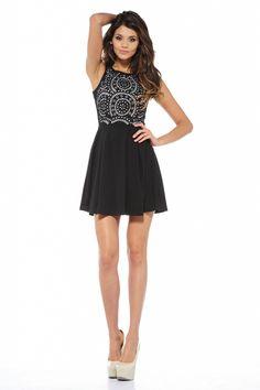 AX Paris- -Women's Laser Cut Out Skater Dress - Online Exclusive-Clothing-Women's-Dresses