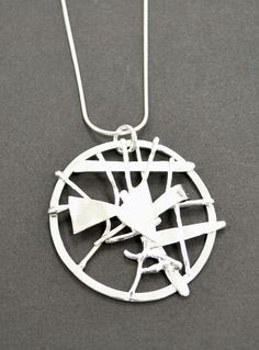 Judy Zawacki - Pendant with chain Simple Shapes, Handcrafted Jewelry, Washer Necklace, Sterling Silver, Chain, Detail, Pendant, Artwork, Handmade Chain Jewelry