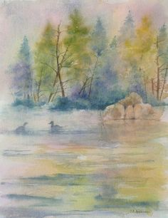 """""""Morning on the Lake"""" Watercolor"""