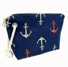Cosmetic Bag, Nautical Print, Gift Ideas: Sailmaker's Supply Gifts For Sailors, Nautical Pattern, Rope Tying, Navy Background, Brides And Bridesmaids, Outdoor Fabric, Baby Accessories, Cosmetic Bag, Unique Gifts