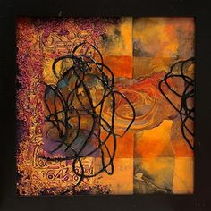 Inscrutable,    14012 by Carol Nelson mixed media ~ 8 x 8