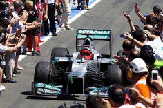 F1 European GP - Michael Schumacher (GER) Mercedes AMG F1 W03 celebrates in parc ferme.  Formula One World Championship, Rd8, European Grand Prix, Race Day, Valencia, Spain, Sunday, 24 June 2012