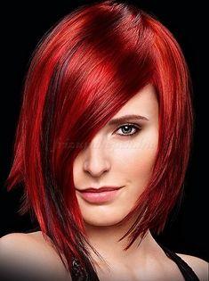 női frizurák félhosszú hajból - aszimmetrikus hosszú bubi