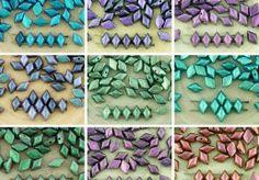 60pcs Polychrome Chameleon Matte Matubo GemDuo Rhombus Diamond Two 2 Hole Czech Glass Beads Gem Duo 8mm x 5mm