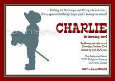 Little Cowboy Birthday Party Invitation - PRINTABLE INVITATION DESIGN