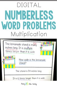 Numberless Word Problems (Multiply/Divide) Classroom and Distance Learning First Grade Lessons, Teaching First Grade, Math Lessons, Teaching Math, Math Fact Practice, Math Fact Fluency, Fifth Grade Math, Math Words, Math Lesson Plans