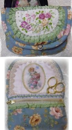 Like the sweet ribbonwork flowers on this sewing kit. :)