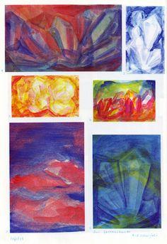 Tafel 65: Gesteinskunde in Malfarbe: Kristalle (6. / 8. Schuljahr) оben links: 1. Kristallgruppe in Weiss-Rot-Blau mit rotem Hintergrund oben rechts: 2. Kristallgruppe in Weiss und Blau mit blauem Hintergrund Mitte links: 3. Kristallgruppe in Weiss-Gelb-Rot mit gelb-rotem Hintergrund Mitte rechts: 4. Kristallgruppe in Gelb-Rot mit gelb-blauem Hintergrund unten links: 5. Inseln in Rot in blauem Meer unten rechts: 6. Kristallgruppe in Blautönen und Grüntönen mit blauem Hintergrund