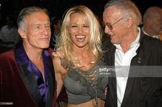 Hugh Hefner, Pamela Anderson and Stan Lee during The Official Launch Party For Spike TV At The Playboy Mansion - Inside at The Playboy Mansion in Bel Air, California, United States.
