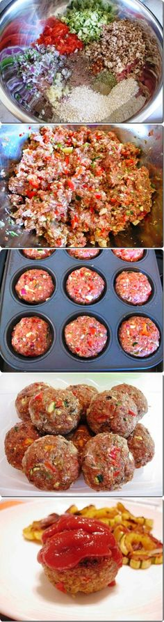 Easy Turkey Meatloaf Muffins- so easy and yummy. Even my parents loved them I Love Food, Good Food, Yummy Food, Meat Recipes, Cooking Recipes, Healthy Recipes, Pasta Recipes, Meatloaf Recipes, Gastronomia