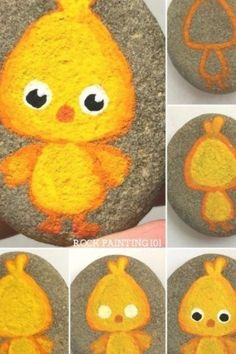 Adorable chick painted rocks ~ This painted chick is perfect for beginners! Create a fun Easter rocks with these painted chick rocks. The post Adorable chick painted rocks ~ This painted chick is perfect for beginners! appeared first on Diy Crafts.Chick p Kids Crafts, Toddler Crafts, Easter Crafts, Thanksgiving Crafts, Kids Diy, Pebble Painting, Pebble Art, Stone Painting, China Painting
