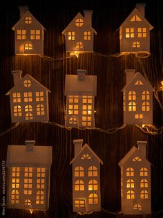 Paper houses as a Christmas Light Decoration