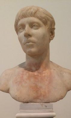 Portrait bust of a youth. Pentelic marble. Found at Eleusis. Time of the emperor  Elagabalus (also known as Heliogabalus), AD 218-222.