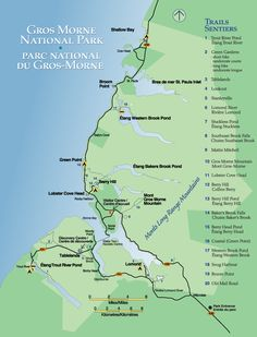 Map of Gros Morne National Park of Canada Newfoundland Canada, Newfoundland And Labrador, National Parks Map, Parc National, Rv Travel, Canada Travel, Canada Trip, Travel Destinations, Gros Morne