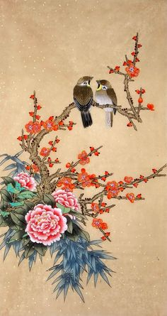 Artist: Jiang Yanmei The Painting contain Peony, Plum Blossom, Bamboo and Birds elements which are very popular in Chinese Painting. Zen Painting, Chinese Painting, Silk Painting, Chinese Art, Art Sketches, Art Drawings, Cherry Blossom Painting, Japanese Artwork, Whale Art