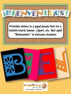 "Here is a Power point with jpegs to print letters for a bulletin board, make your own banner, or to use as clip art (for use in the classroom only) that spell the word ""Bienvenidos.""  An easy way to decorate your room and make it look colorful and cool!"