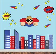 REUSABLE Superhero Wall Decal  Childrens by StudioWallStickers