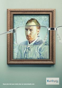 llllitl-keloptic-opticien (Using Vincent Van Gogh) #PrintAd | Print Advertisement | Creative Advertising |