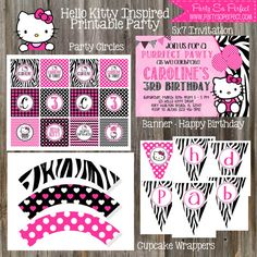 Hello Kitty Inspired Birthday Party Package  by PartySoPerfect, $19.00