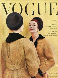 The buttery saffron hued September 1954 cover of Vogue magazine. #vintage #fashion #Vogue #1950s