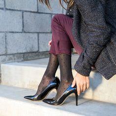 Sheer Dot Black RejuvaKneeHigh™ -fashionable compression stocking knee highs by REJUVA® Brand Opaque Stockings, Knit Stockings, Compression Stockings, Fashion Mag, Going Gray, High Knees, Tight Leggings, Comfortable Fashion, Diane Von