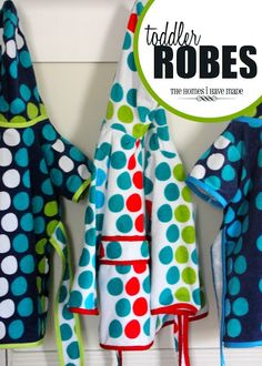 turn whimsical bath/beach towels into cozy little robes for your toddler! Great summer project and gift idea!