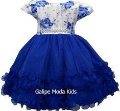 ecf34927077 Galipe Moda Kids · VESTIDOS INFANTIL · Vestido Infantil Azul Royal Floral