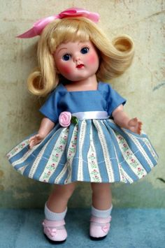 "~Vintage Rosebuds~..a OOAK dress and bloomers for Ginny, Muffie, Ginger, or Madame Alexander 7.5""DoLLs. Limited Edition of only ONE set like this made, so if you want it, you should bid! At my ebay this week, and you can click the picture to take you there. SOLD!"