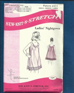 1969 SewKnitStretch 214 Ladies Nightgown Pattern by MrsWooster, $8.50