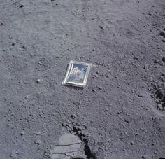 The family photo that Charlie Duke left on the Moon on April 23, 1972. (NASA)