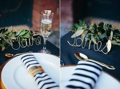 SILVER Custom Wire Name  Table Name Card  Wedding by kearydee