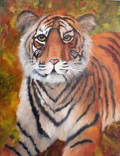 "Big Pussy Cat, 11x14"",original oil on canvas"