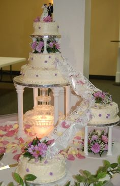 Romantic Fountain My wedding cake, and this was the request! Only designed to feed or so people, so this was a lot of smaller. Round Wedding Cakes, Wedding Cakes With Cupcakes, Elegant Wedding Cakes, Elegant Cakes, Beautiful Wedding Cakes, Wedding Cake Designs, Wedding Cake Toppers, Beautiful Cakes, Cupcake Cakes