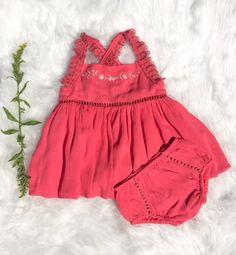ღ¸.•❤ ƁҽႦҽ ღ .¸¸.•*¨*• Boho Aven - Ethel baby dress with bloomer - coral